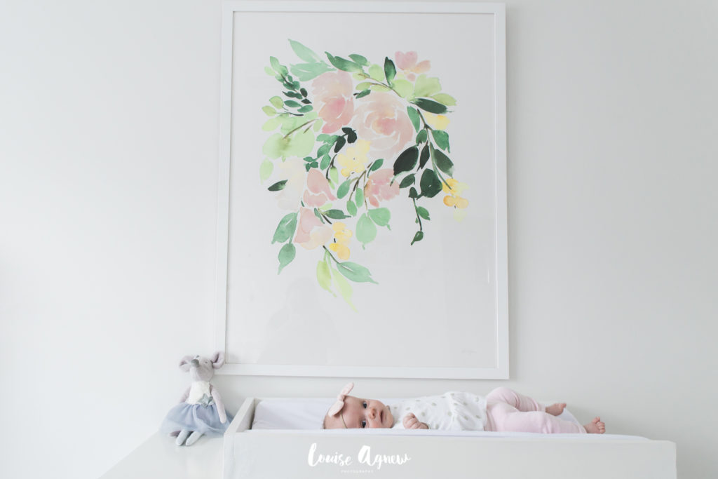 Louise Agnew Floral Cactus White Pink Gold Girls Nursery